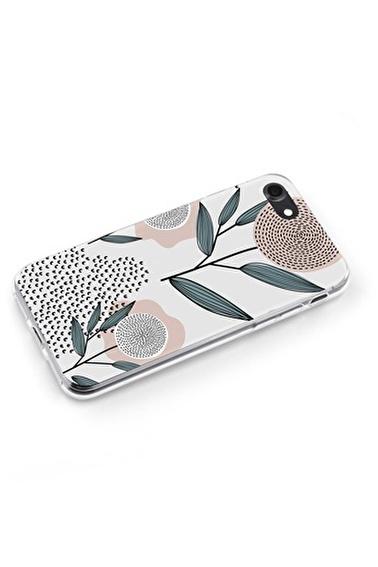 Lopard iPhone 7 Kılıf Silikon Arka Kapak Koruyucu Retro Çiçekler Desenli Full HD Baskılı Renkli